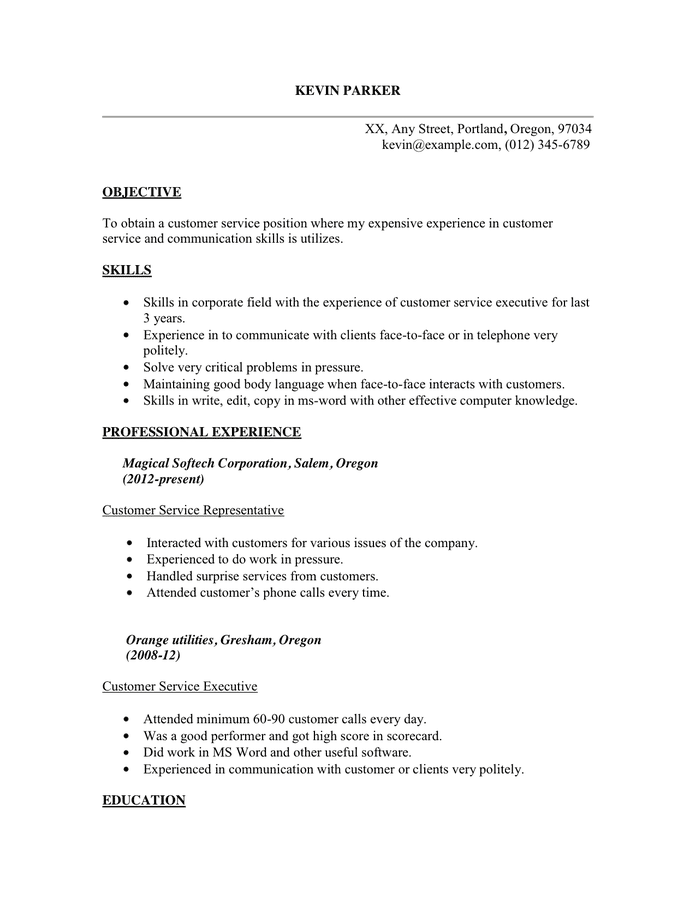 sample customer service resume sample in word and pdf formats