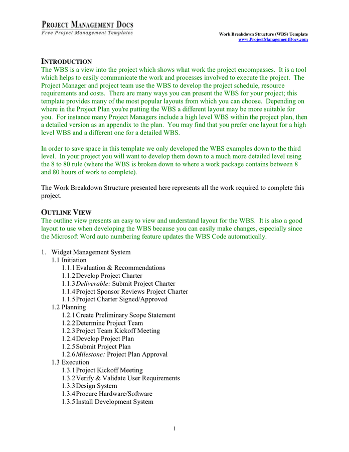 Work Breakdown Structure Wbs Template In Word And Pdf Formats Page 2 Of 9