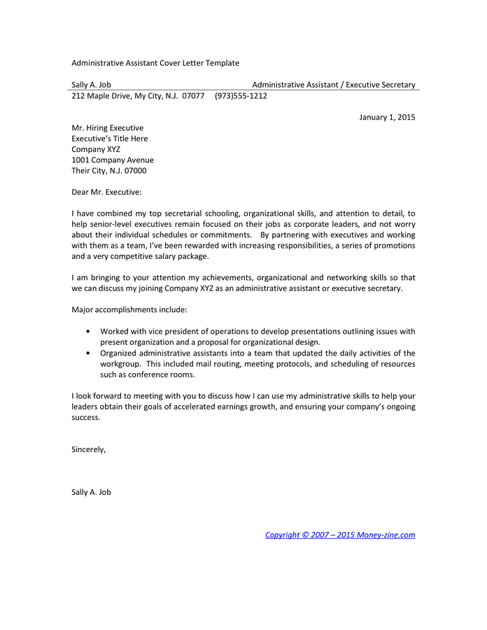 administrative cover letter example cover letter examples for administrative assistant 20407