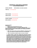 RESIDENTIAL LEASE/RENTAL AGREEMENT page 1 preview