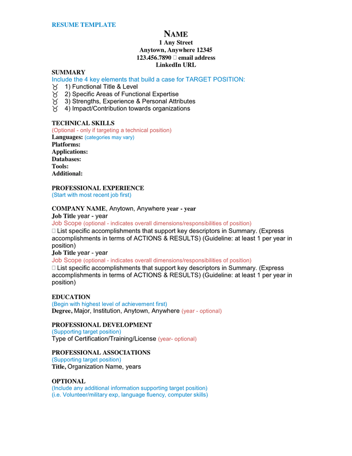 general resume template  download free documents for pdf