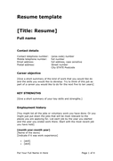 Resume template page 1 preview