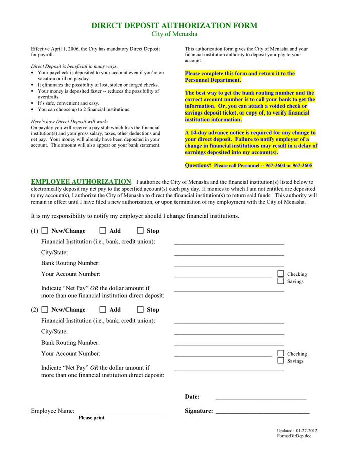 Direct deposit authorization form preview