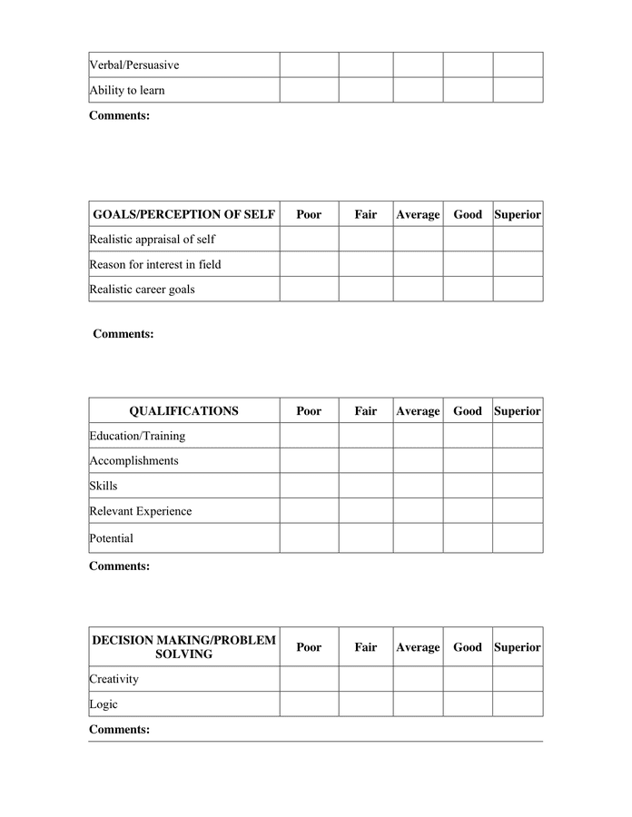 job-interview-evaluation-form-2_2 Teacher Job Interview Evaluation Form on second job, template for food company, free receptionist, checklist sample, marketing candidate,