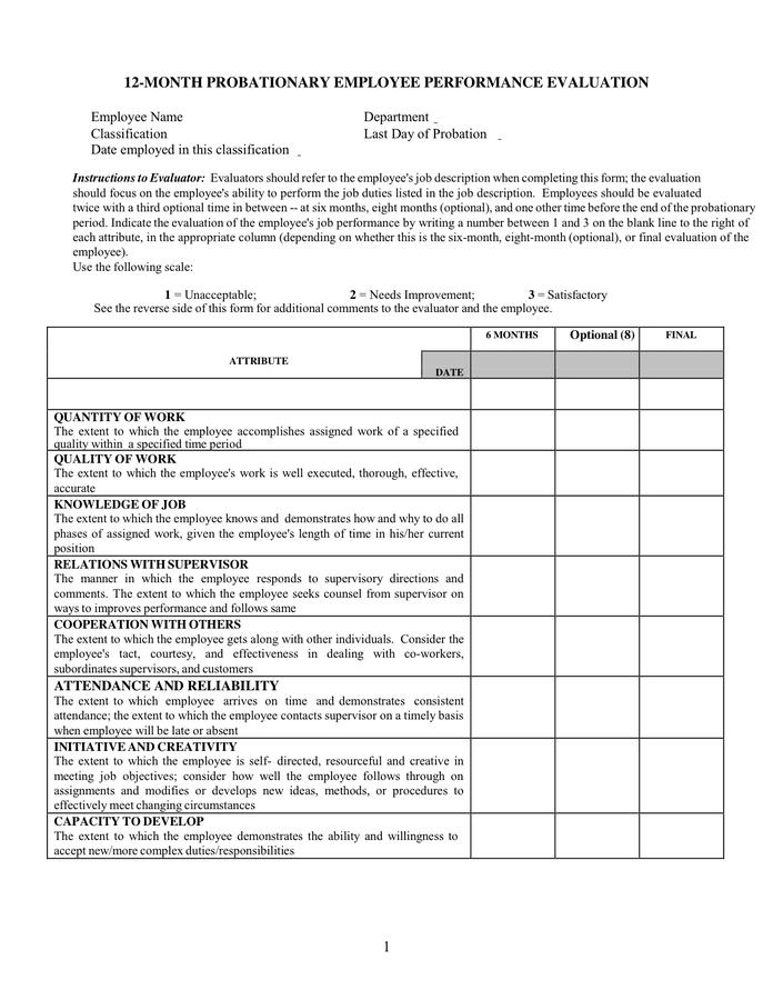 PROBATIONARY EMPLOYEE PERFORMANCE EVALUATION in Word and Pdf formats – Employee Performance Evaluation