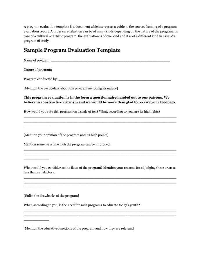 Sample Program Evaluation Template In Word And Pdf Formats