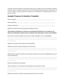 Sample Program Evaluation Template page 1 preview