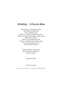 Wedding – 3 Course Menu page 1 preview