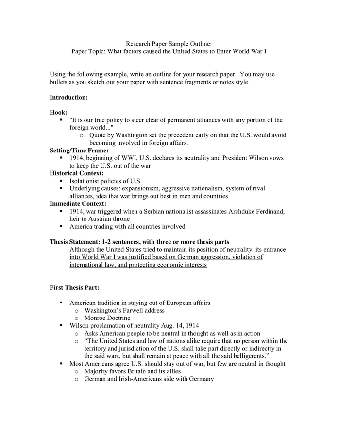 Research Paper Sample Outline In Word And Pdf Formats