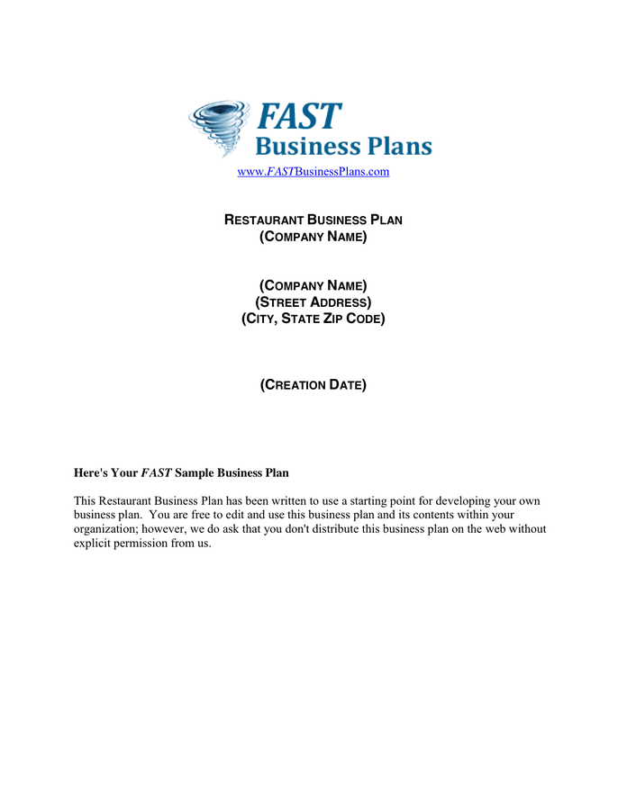Restaurant Business Plan Template preview