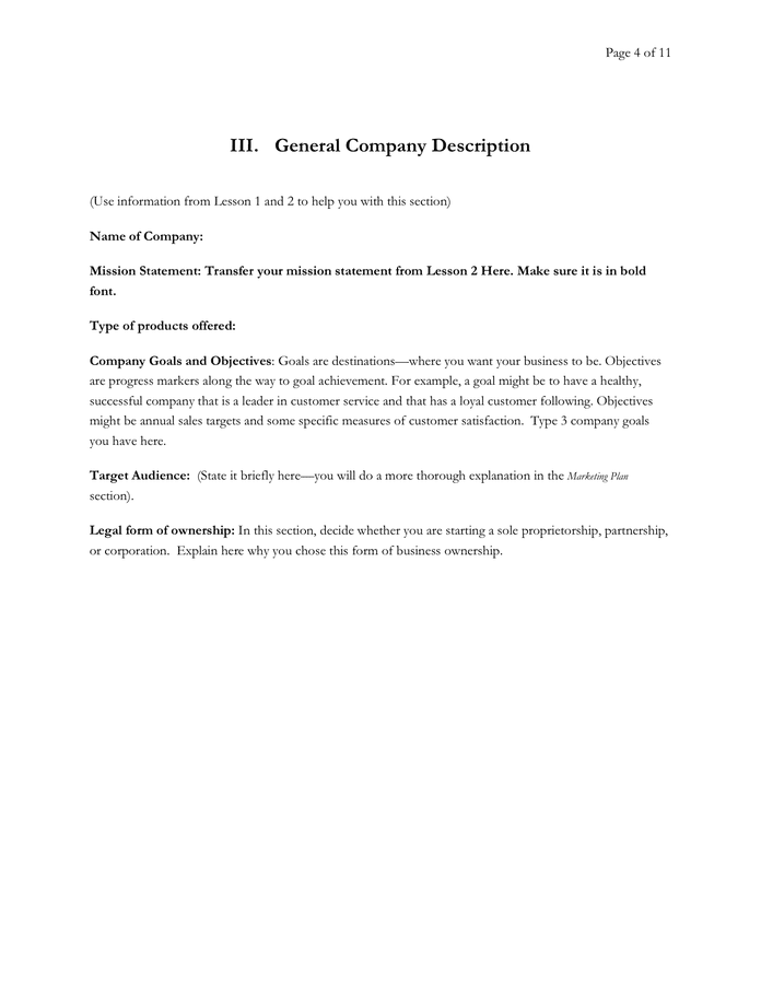 Sample general company description for business plan literary analysis raven