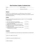 Data Warehouse Training Evaluation Form page 1 preview