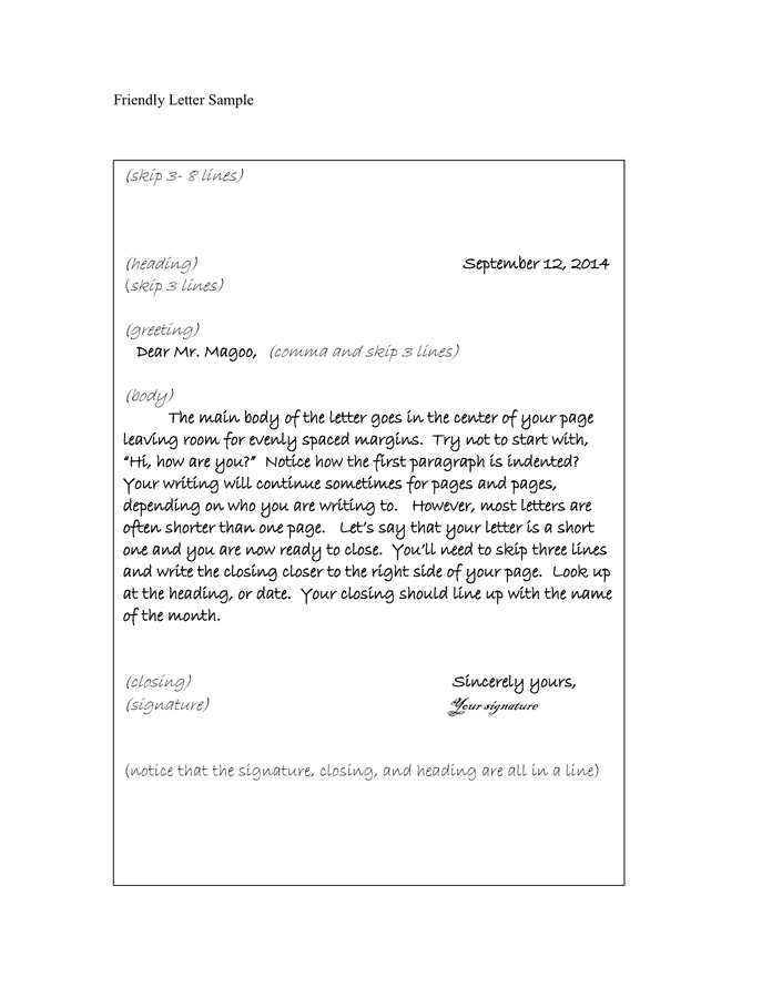 friendly letter format example friendly letter sample in word and pdf formats 10265