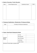 Job application form page 2 preview