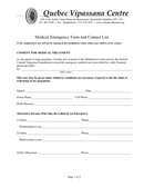 Medical Emergency Form and Contact List page 1 preview