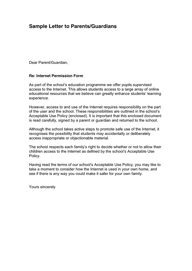 Sample Letter to Parents/Guardians page 1