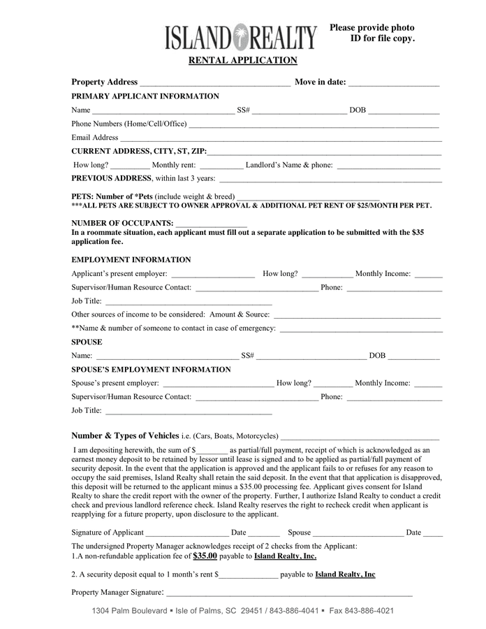 RENTAL APPLICATION page 1