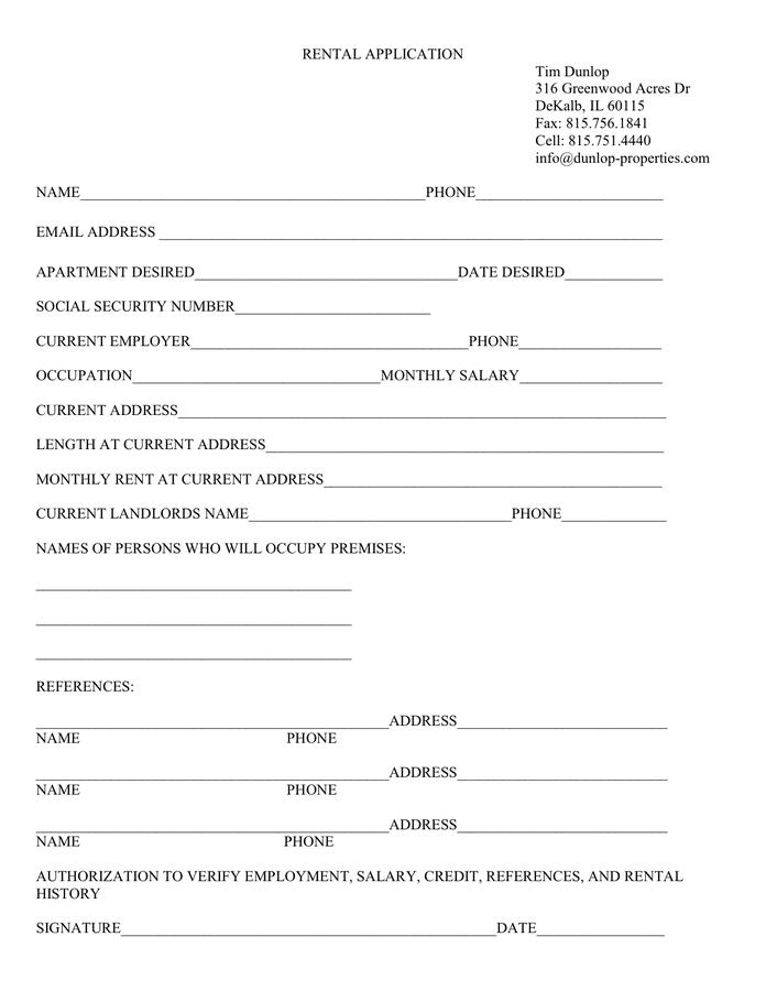 RENTAL APPLICATION page 1
