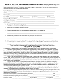 MEDICAL RELEASE AND GENERAL PERMISSION FORM page 1 preview