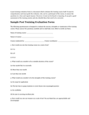 Sample Post Training Evaluation Form page 1 preview