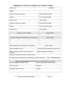 EMERGENCY CONTACT/PARENTAL CONSENT FORM page 1 preview