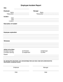 Employee Incident Report Form page 1 preview