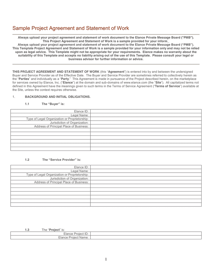 Template Project Agreement And Statement Of Work In Word And Pdf Formats