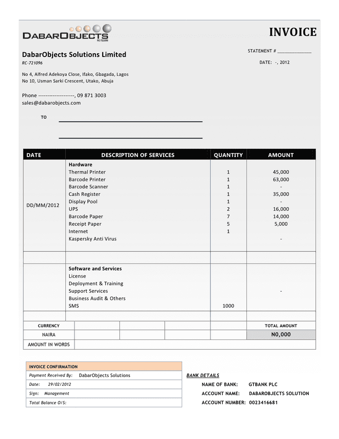 Commercial Invoice Template In Word And Pdf Formats