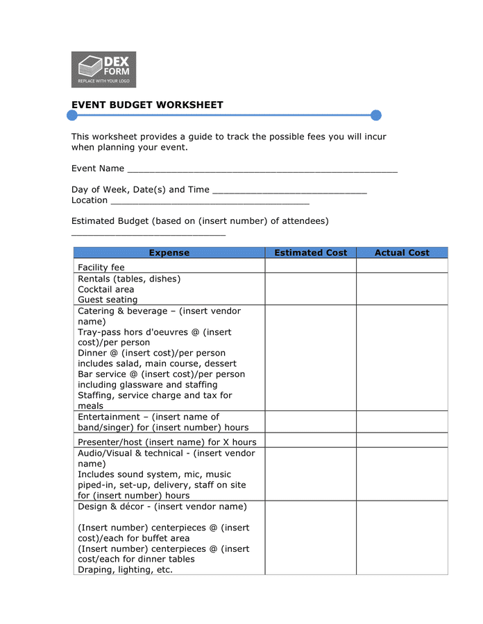 Sample budget & expense form preview