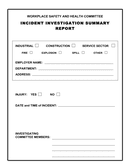Incident investigation summary report page 1 preview