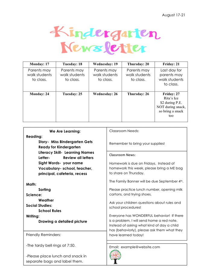 Kindergarten newsletter example preview