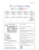 Kindergarten newsletter example page 1 preview