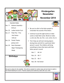 Kindergarten newsletter page 1 preview
