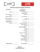 Monthly income and expense worksheet page 1 preview