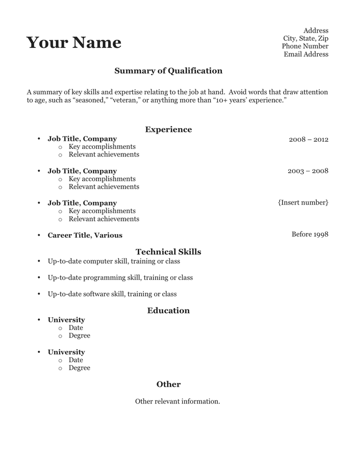 Clean resume template form preview