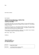 Letter certificate of practical completion (New Zealand) page 1 preview