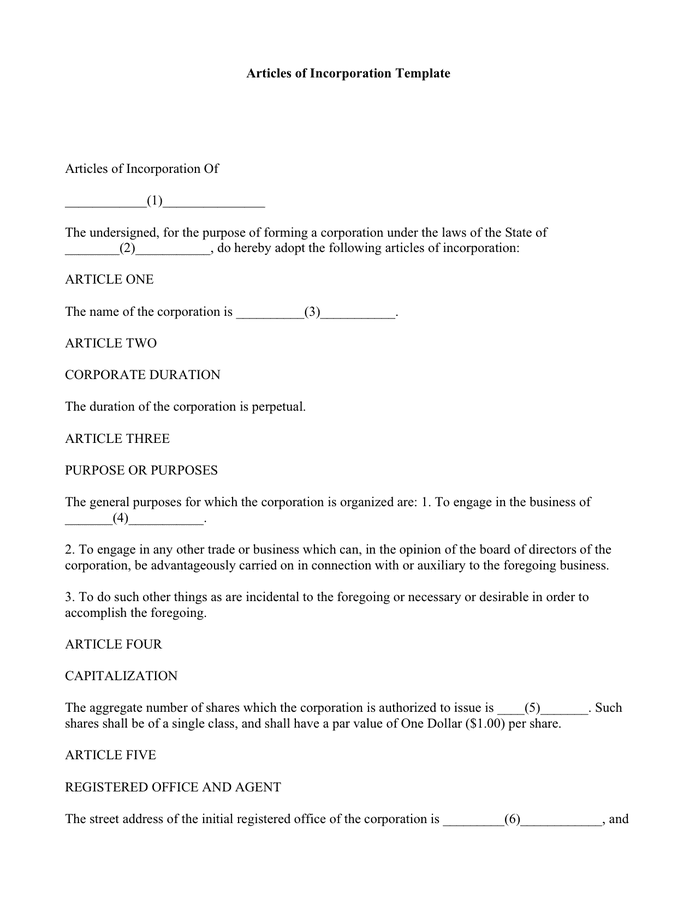 Articles of incorporation template preview