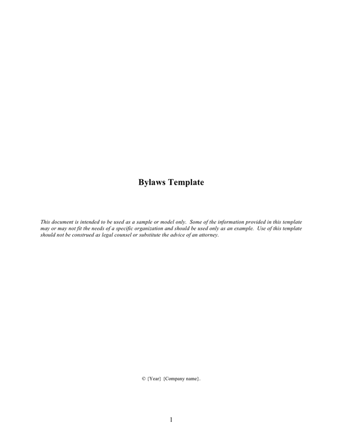 Bylaws template preview