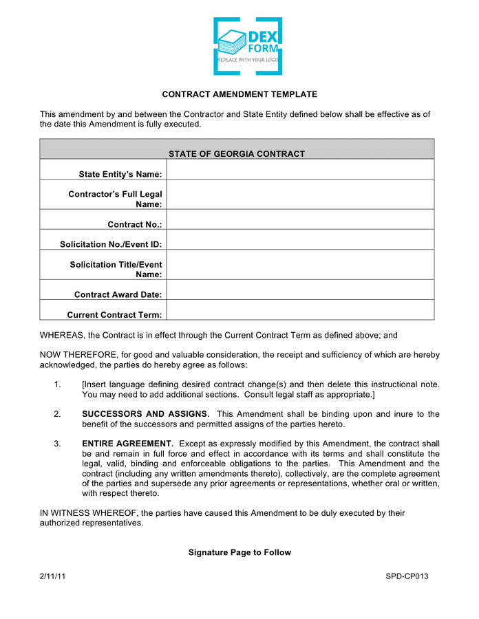 Contract amendment template preview