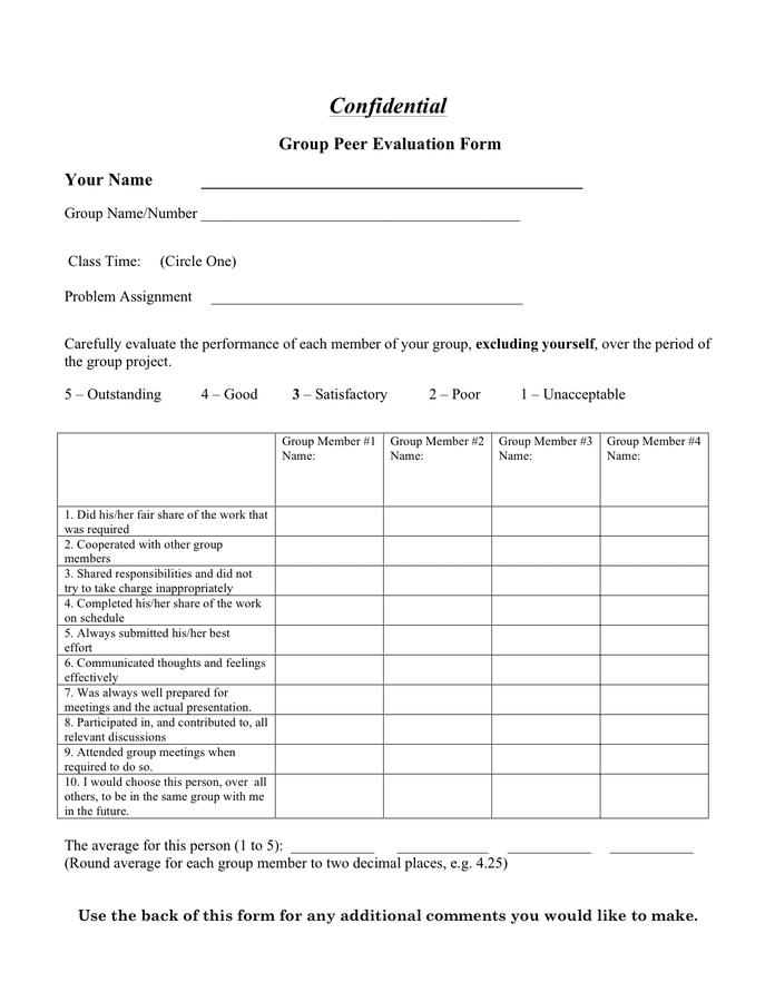 Team member peer evaluation form preview