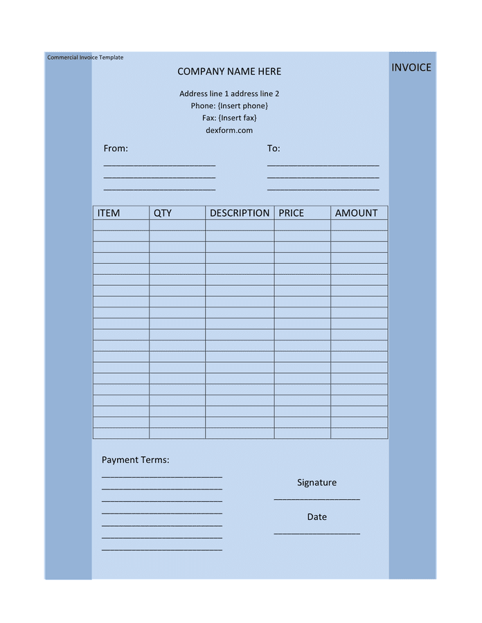Light blue commercial invoice template page 1