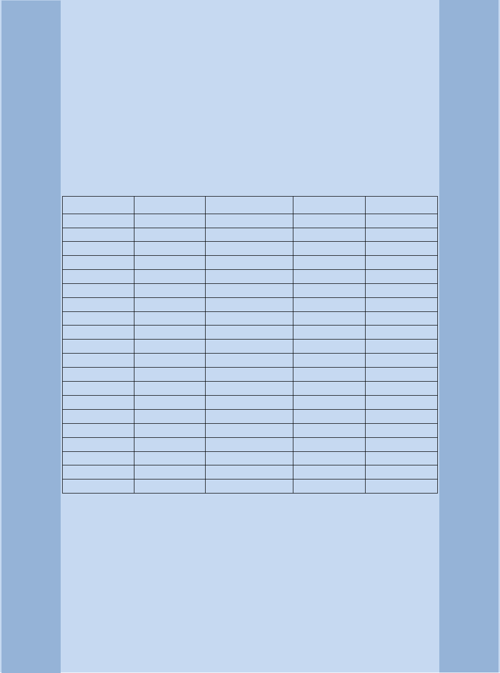 Light blue commercial invoice template