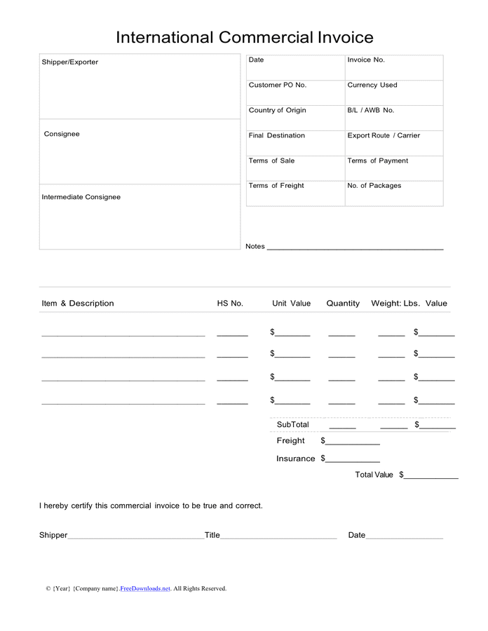 International commercial invoice sample page 1
