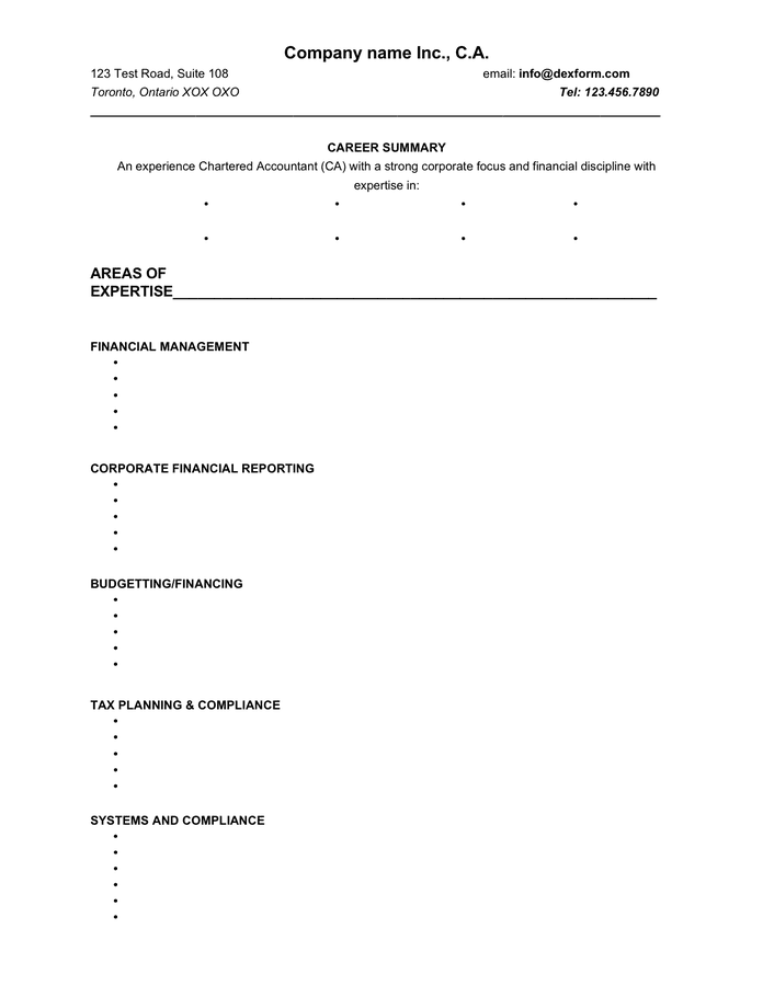 Chartered accountant resume template (Canada) preview