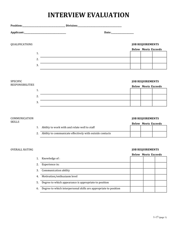 Interview evaluation form page 1