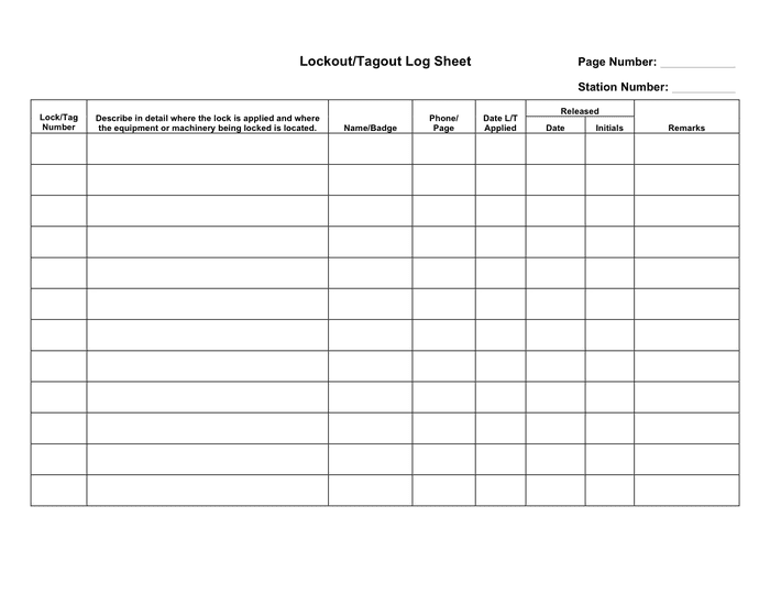 Lockout/tagout log sheet template page 1