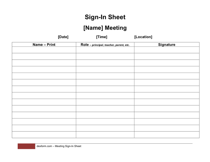 Meeting sign-in sheet template page 1