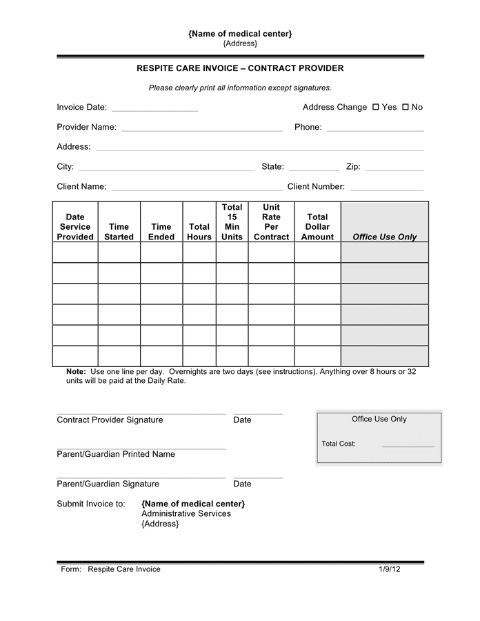 Respite care invoice preview