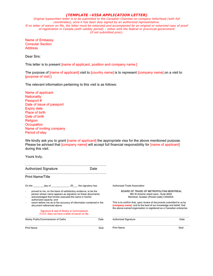Visa application letter template (Canada) preview