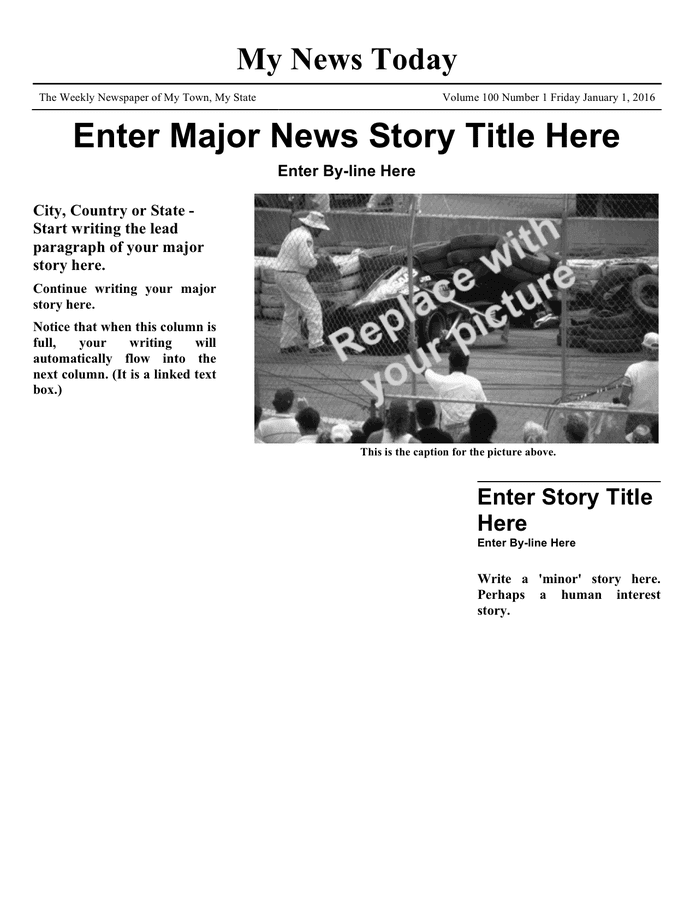 Newspaper article template preview